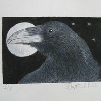 Sweet little raven drypoint etching and watercolour