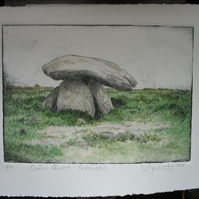 Coloured drypoint etching of Chun Quoit in Cornwall