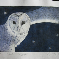 Beautiful barn owl limited edition etching 'Silent Voyage'
