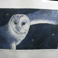 Beautiful limited edition drypoint etching of a barn owl in flight