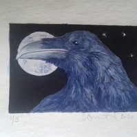 Cute little raven drypoint etching with watercolour