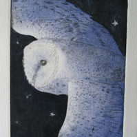 Beautiful barn owl limited edition etching 'Homeward Bound'