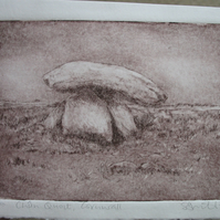 Drypoint print of Chun Quoit in Cornwall