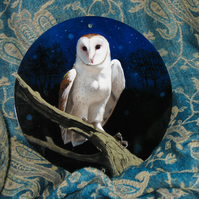 Mystical barn owl oil painting on round panel