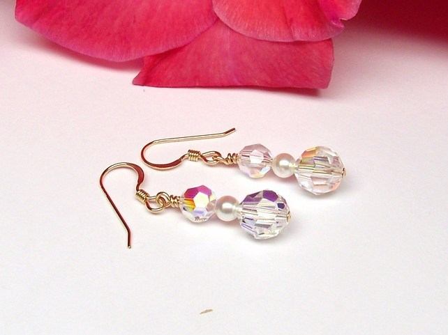 bridal earrings swarovski crystal,pearl and gold fill  Linda