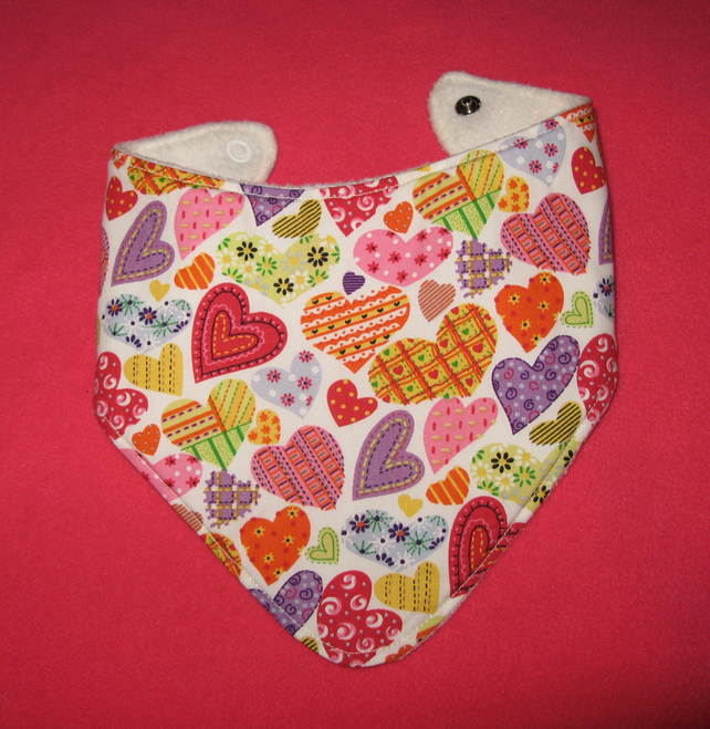 Baby and toddler bandana style dribble bib - patchwork heart print