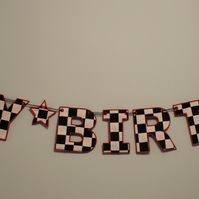 "Fabric Letter Bunting ""HAPPY BIRTHDAY"" 6"" Black and White Chequered Flag"