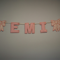 "Personalised Fabric Letter Bunting 4"" Padded Letters, with Bows"