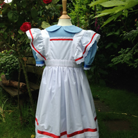Girls Victorian Dress and Pinafore Blue, Alice in Wonderland Style Stage Costume