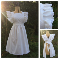 White 'Alice' Victorian Style Girls Pinafore Apron Age 8-10