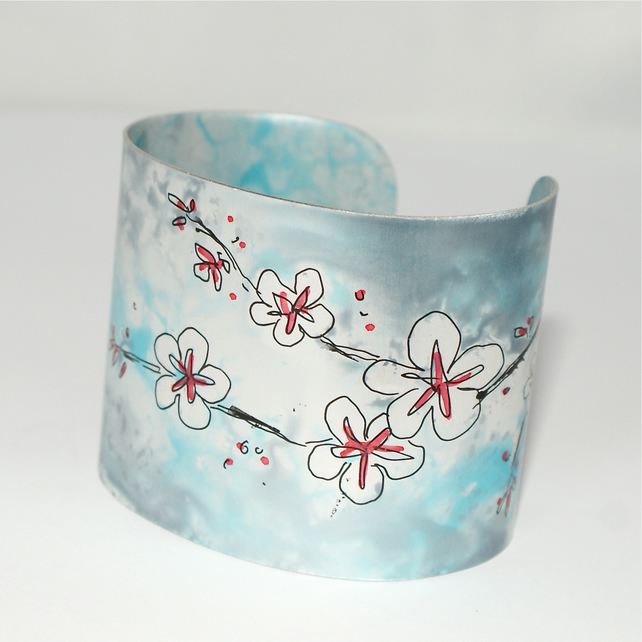 Painted cherry blossom cuff
