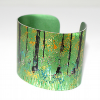 Hand painted abstract woodland cuff