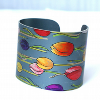 Painted tulips cuff