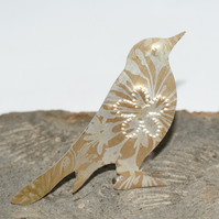 Printed bird brooch