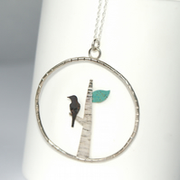 Bird and tree necklace