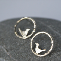 Little silver bird stud earrings