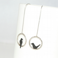 Mis-matched Little bird drop earrings