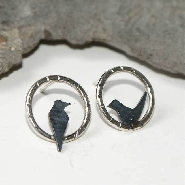 Mis-matched ittle bird stud earrings