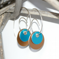 Colour block reversible earrings - turquoise & neutral
