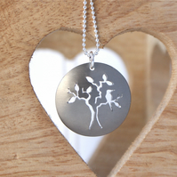 Bird and tree necklace  - champagne