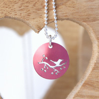 Tiny bird on a branch necklace - raspberry