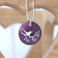 Tiny bird on a branch necklace - plum