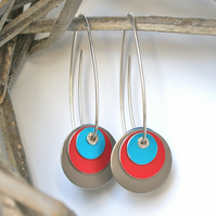 Colour block reversible earrings