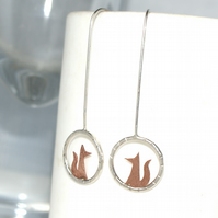 Tiny fox drop earrings