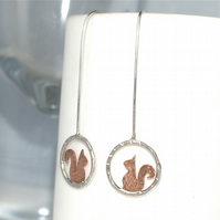 Tiny squirrel drop earrings
