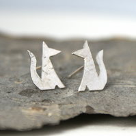 Tiny fox stud earrings