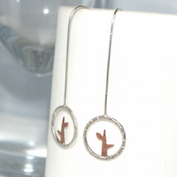 Tiny branch drop earrings
