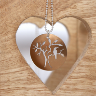 Bird and tree necklace  - bronze