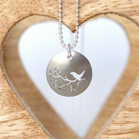 Tiny bird on a branch necklace - champagne