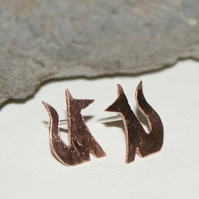 Tiny fox stud earrings - copper