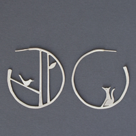Edge of the woods statement earrings - bird