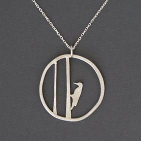 Edge of the woods woodpecker necklace
