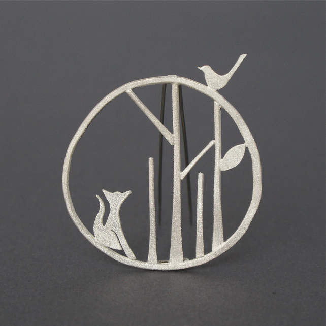 Edge of the woods statement brooch