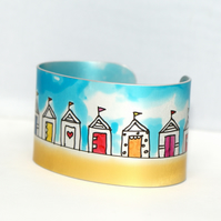 Bright beach huts cuff narrow