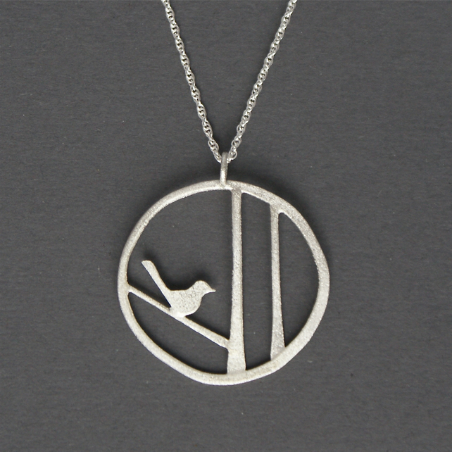 Edge of the woods bird necklace