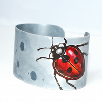 Hand painted ladybird cuff - narrow