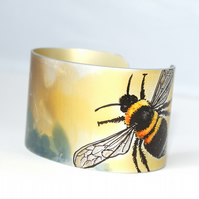 Hand painted bumble bee cuff - narrow