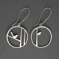 Edge of the woods bird hoop earrings