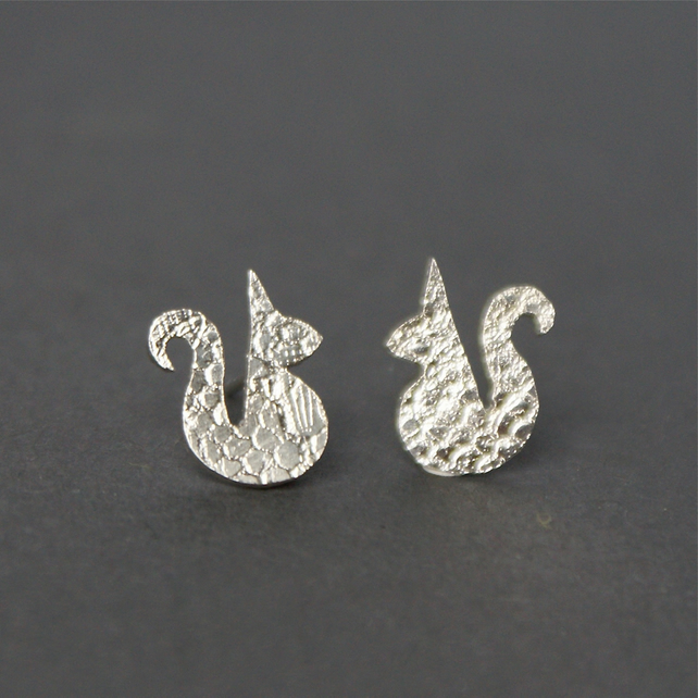Tiny squirrel stud earrings