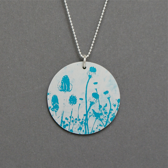 Circle hedgerow pendant - small turquoise