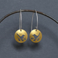 Tiny lovebirds nature tag earrings - golden yellow