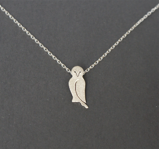 Edge of the woods tiny owl necklace