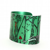 Forest floor cuff green - print from an original linocut