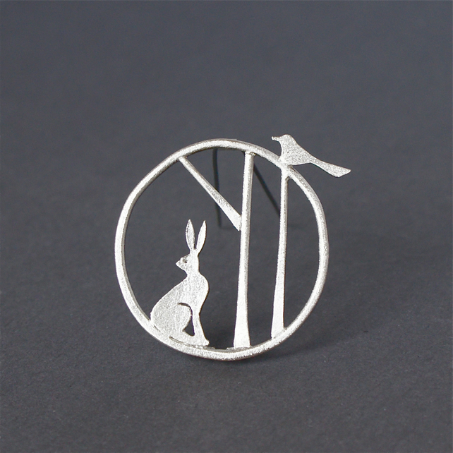 Edge of the woods hare brooch