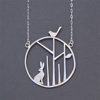 Edge of the woods statement necklace - hare