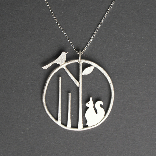 Edge of the woods squirrel and bird necklace
